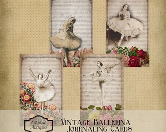 Vintage Ballerina Journaling Cards Instant Printable Digital Download