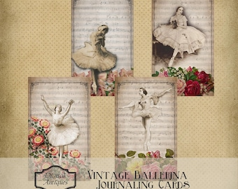 Ballerine Vintage journalisation cartes imprimable téléchargement