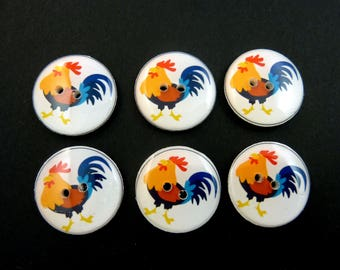 "6 Rooster Buttons. Handmade buttons.  3/4"" or 20 mm."