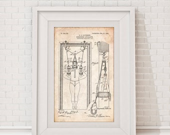 Antique Exercise System Patent Poster, Gym Wall Art, Fitness Coach Gift, Exercise Room Decor, Gym Gift, Fitness Artwork, PP1307
