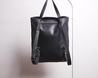 Handmade LEATHER multifunctional BAG / BACKPACK / Shoulder bag / Tote from black cowhide leather