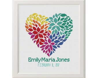 Colorful floral hearts birth record counted cross stitch pattern new baby announcement personalized heart newborn xstitch shower gift