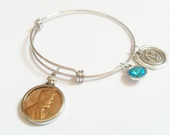 90th Birthday Gift 1928 Bracelet Birthstone Happy Birthday Gift US Penny Bracelet Expandable Bangle initial charm  Coin Jewelry