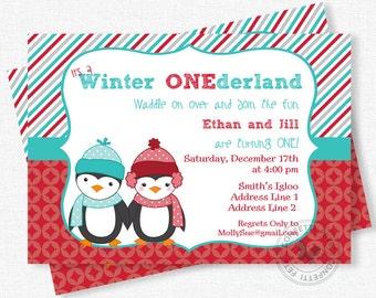 Penguin Birthday Invitation, Winter Onederland Invitation, Twins 1st Birthday, Penguin Party