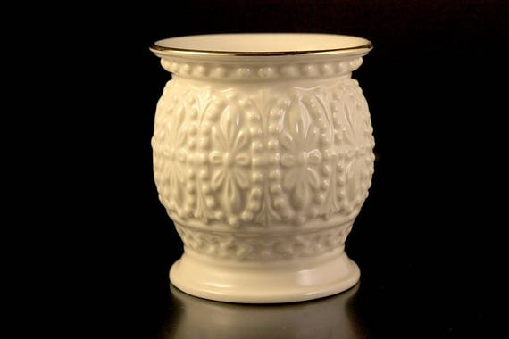 Lenox Vase, Dot and Flower Pattern, 24K Gold Trim, Giftware, Display, Small, Pencil Holder, Fine China