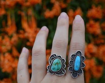 Royston Turquoise Ring - Navajo Inspired - Size 7.5