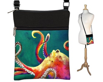 Clara Nilles Sling Bag, Shoulder Bag, CrossBody Purse, Small CrossBody Bag, Cross Body Bag, Cross Body Purse, Octopus teal RTS