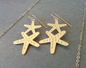 Gold Star Earrings, Star Earrings, Gold Earrings, Gold Star, Gift For Her, Star Jewelry, Earrings, Geometric Earrings, Dangle Earrings
