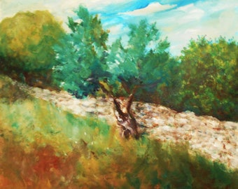 Original Landscape Painting, Olive Tree Painting, Acrylic on Canvas, Tree Painting, Wall art