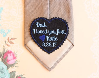 Father of the bride gift, Heart Tie Patch, wedding Gift for Dad I loved you first,Embroidered,heart shaped patch,Canada, TLH20B