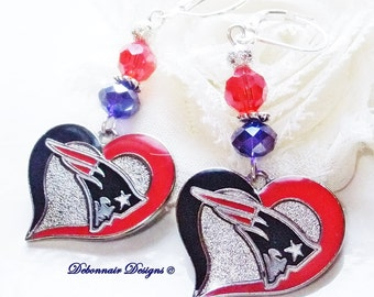 New England Patriot Earrings, Love My Patriots, Blue and Red Crystal Earrings, Pro Football Bling, Patriots Jewelry FREE SHIPPING in U.S.