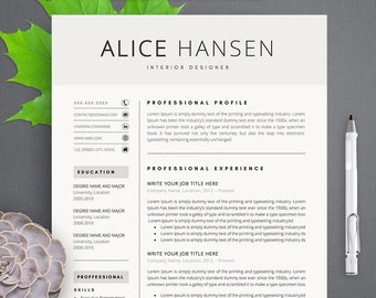 Alice Modern Resume Template / CV Template + Cover Letter | Professional and Creative Resume Teacher Resume Word Resume Instant Download