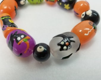 Boocat Eyes Bead Bracelet, Stretch Bracelet, Beaded Bracelet