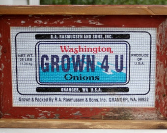 Vintage Barn Wood Double Frame with Washington State Onion Sack Advertisin