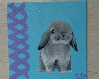 Small Grey Bunny Painting
