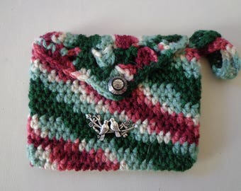 Girls crocheted purse with Love birds. childs handbag, kids,tote,  gift