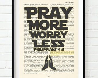 Vintage Bible page verse scripture Pray More Worry Less Philippians 4:6 ART PRINT, UNFRAMED, dictionary, Star wars inspired christian gift