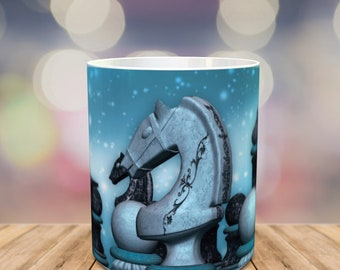 Chess Mug, blue chess mug with chess peaces, can be personalized with a name