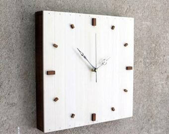 White Christmas Gift,  Modern Clock, White Wall Clock, White Wooden Clock, Square Clock, Wooden Gift, Kitchen Decor, Designer Clock