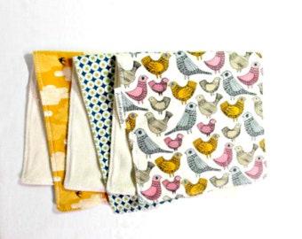 Organic baby gift, 3 baby burp cloths, organic burp cloths, trendy bird designs, baby gift under 25,cotton burp cloths, neutral burp cloths
