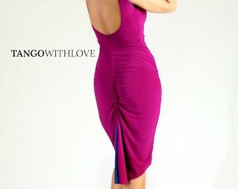 SALE! Argentine Tango Milonga Dress Reversible Low Back Slit Split Tail Ruched, Tango With Love Women Tango Clothing Apparel