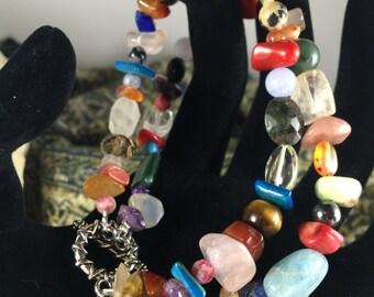 Double strand multi gem bracelet, bead soup bracelet,natural gemstone bracelet, beaded bracelet,bohemian bracelet.