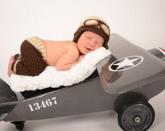 Newborn Aviator Hat and Pants - Photography Prop