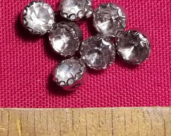 Seven decorative glass crystal buttons