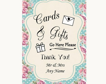 Vintage Shabby Chic Rose Cards & Gifts Table Personalised Wedding Sign