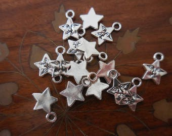 40 C Star with Face Charms Silver-tone DIY Assemblage Art Jewelry supplies