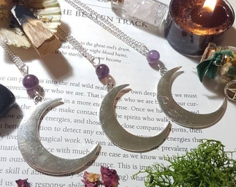 Long Amethyst Crescent Moon necklace. Moon necklace. Amethyst necklace. Witchy necklace. Witchcraft jewelry. Wiccan necklace. Pagan gift.