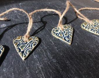 Garland bunting ceramic handmade hearts