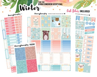 Printable Planner Stickers, Winter Stickers Bear Stickers Erin Condren Life Planner January Sticker Kit December Weekly Sticker
