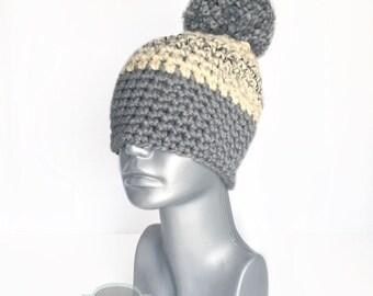 Gray and Tan Chunky Beanie with Pom, Beige Crochet Hat, Silver Black Tan Winter Beanie With Puff, Pom Pom Knit Hat, Oatmeal Ski Cap