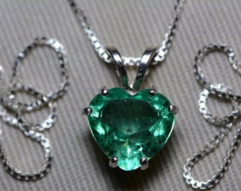 Emerald Necklace, Heart Cut Colombian Emerald Pendant 2.81 Carat Appraised at 2,250.00, Sterling Silver, Real Natural May Birthstone
