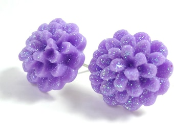 Glitter Purple Flower Earring Posts