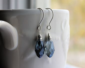 Sterling Silver Earrings, Blue Glass Teardrop Earrings, Briolette Earrings