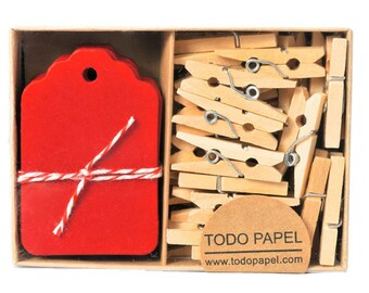 Boxed red mini tags and clothespins set. 40 pack Red Gift Tag and Clip embellishments. Favor Gift tags - Valentines Day gifts. Gift Topper