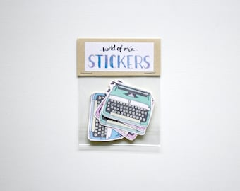 Typewriter Sticker Set, Retro Stickers, Stationery, Typewriter Sticker Pack, Vintage Office Typewriter Stickers