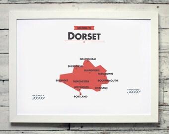 Dorset County Map | # print, poster, vintage, england