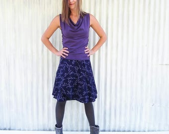 Organic Cotton Bird Wrap Skirt - Midnight Blue Midi Wrap Skirt with Bird Print - Custom Made by Yana Dee in the USA