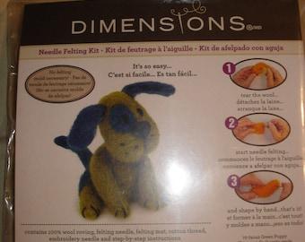 Dimensions Needle Felting Green Puppy Kit