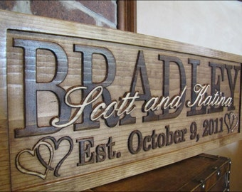 Personalized Wedding Gift Family Name Sign Custom Wood Sign Last name Established Anniversary heart personalized sign Lovejoystore