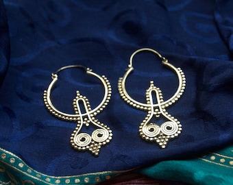 Ethnic Dangle Hoop Earrings. Tribal Earrings.