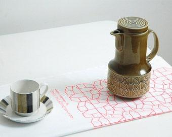 Pink tea towel, Geometric design, Kitchen and dining