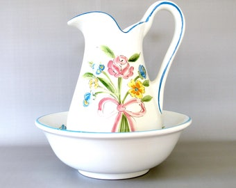 Vintage Pitcher & Bowl Set. Bedroom Decor. White. Blue. Pink. Yellow. Green. Flowers. Rose. Majolica. Faience. Italian. Ribbon Bow. Floral