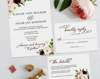 Printable Wedding Invitation Template | Instant Download | Fall Floral | DIY | Editable Adobe pdf | RSVP & Info Card Set PDF