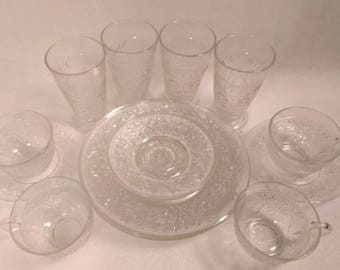 Vintage Complete 16pc Tiara Anchorglass Luncheon Set