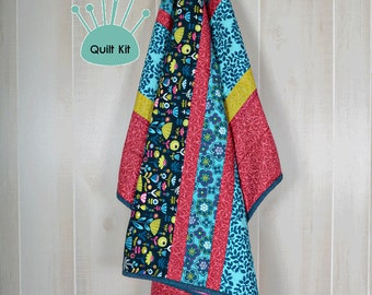 Quilt kit, Pre-Cut, Minky backed - Navy Tulips Quilt Kit