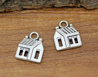 20pcs Antique Silver House Charms Pendant 2 Sided 18x14mm C2146-Y